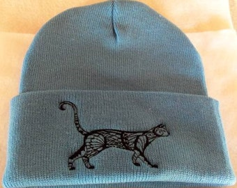 Cat Familiar black linework embroidery on winter beanie hat