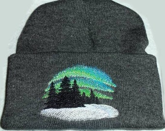 Beanie Hat Aurora Borealis Northern Lights Embroidery Winter Urban Threads design Wiccan