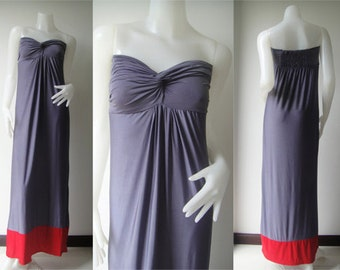 Color block gray Red Strapless sun beach Long maxi dress all size