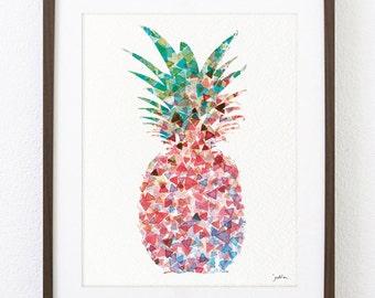 Watercolor Painting, 8x10 Geometric Art Print - Pink Pineapple - Pineapple Silhouette Art Wall Decor - Housewares, Gifts