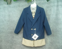 VINTAGE Boy Suit Shorts and jacket color navy blue tan