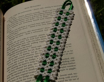 Hand Crocheted Bookmark white/green