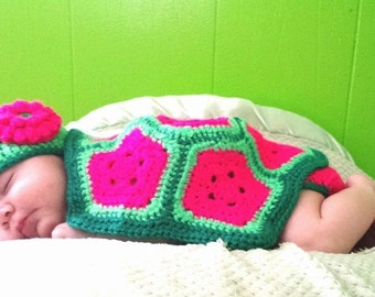 Hand Crocheted Turtle Outfit/prop