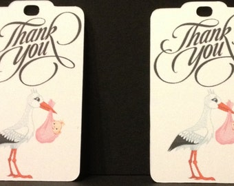 Baby Shower Favor Tags, Gift tags, Personalized Gift Tags, Stork Theme, Set of 24 tags