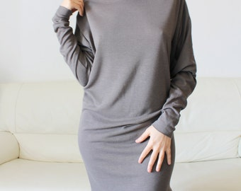 long sleeve jersey dress, women gray wool jersey sweater dress dress, spring dress
