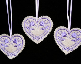 Christmas~Valentine ~ Wreath Ornament Decoration Heart Machine Embroidered in Lavender on Oatmeal Felt