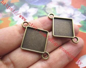 Wholesale 60pcs 32x23mm Antiqued bronze diamond cabochon base/cameo(15x15mm) setting pendants connectors