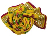 Vintage Dupatta Women Decor Traditional Style Stole Used Indian Embroidered Hijab Georgette Fabric Yellow Craft Upcycled Veil DP8469