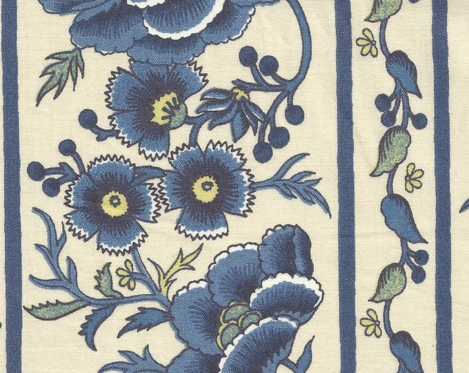 Dutch Chintz Border - Oberkampf Delft Blue - half (1/2) yard