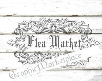 Flea Market Shabby Words Transfer Instant Download Burlap digital collage sheet graphic printable No. 1037