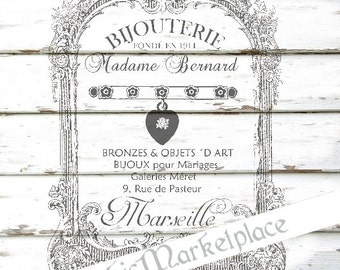 Jewelry Bijouterie Factory Instant Download French Style Transfer Burlap digital graphic printable No. 715