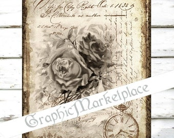 French Rose Letter Large Image A4 Instant Download Vintage Transfer Fabric digital collage sheet printable No. 053