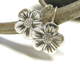 Silver Flower Earrings, Sterling Silver, Fine Silver, Copper Flower Earrings, or Bronze Flower Earrings, Daisy Earrings, French Hook, Floral