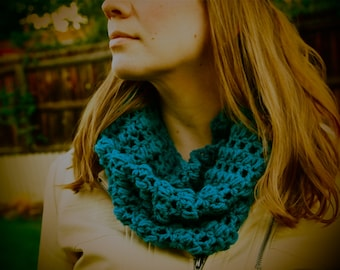 Teal Crochet Cowl Neck Scarf