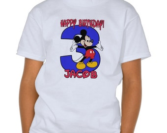 Mickey Mouse- Boy SHIRT Name and Birthday Number 1T,2T,3T,4T,5T,6T,7T,8T