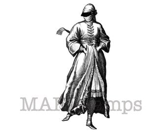 Turkish woman taking a walk / Unmounted rubber stamp / People rubber stamp (130304)