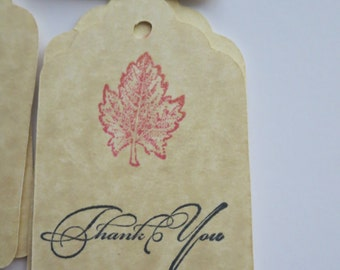 Set of 24 Hand-Stamped Rocket Red Maple Leaf Tags, Thank You Tags