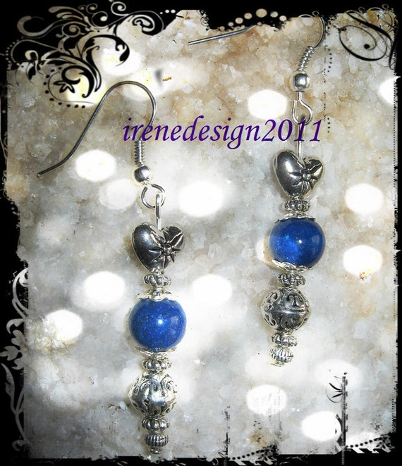 Handmade Silver Earrings with Blue Jade & Heart by IreneDesign2011