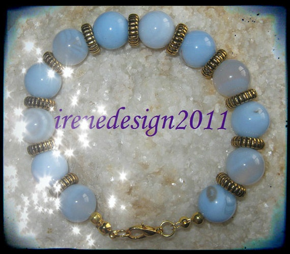 Beautiful Handmade Gold Bracelet with Lace Agate by IreneDesign2011