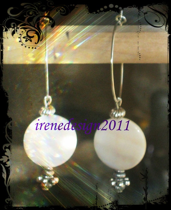 Silver Hoop Earrings with White Seashell Coins by IreneDesign2011