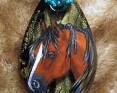 Rustic Southwestern handcrafted vibrant glass foil pendant handpainted original Mustang Chestnut  Horse Pendant Art beaded copper Necklace - BelleRayneJewelry