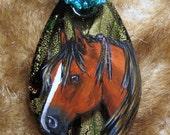 Rustic Southwestern handcrafted vibrant glass foil pendant handpainted original Mustang Chestnut  Horse Pendant Art beaded copper Necklace - BelleRayneJewelry