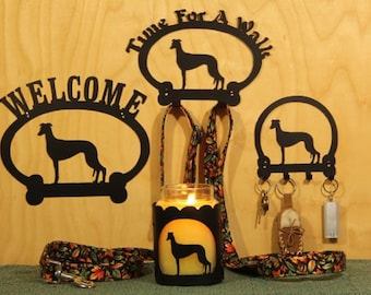 Greyhound Welcome Sign, Time for A Walk Leash Hook, Key Rack, Candle Holder for Yankee Type Jar Candles