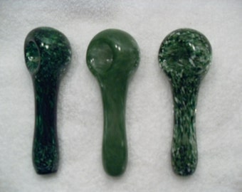Green Spoon Variety - medium glass solid color inside-out spoon pipe