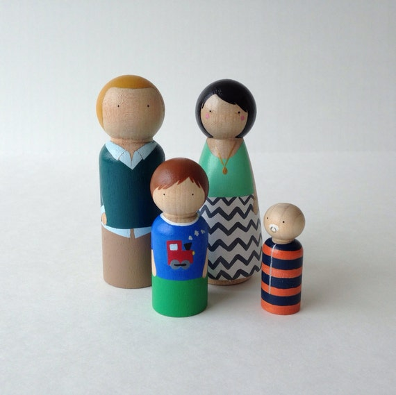 Custom Peg Doll Family, 4pc set