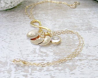 Initial Bracelet Personalized Infinity Bracelet monogram initial monogram bracelet swarovski Birthstone infinity jewelry letter bracelet