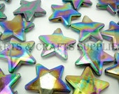 20pcs 22mm Black Metallic Color Shiny Star Beads Charms Pendants F165