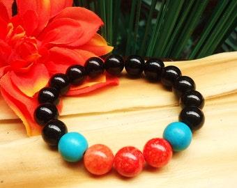 Black and Coral Bead Bracelet//Black, Coral, and Teal Stretch Bracelet
