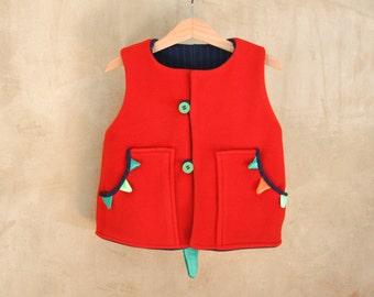 Red fleece Dragon vest for kids, dinosaur children costume, unisex unique birthday gift, fancy dress baby party, warm and soft toddler dress
