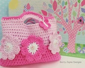 THE PINK FLOWER Crochet Bag Pattern By Kerry Jayne Designs Girls bag pattern Child gift idea tote pattern Girls crochet bag pattern Usa