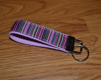 SALE! Pink Stripes Keychain