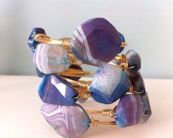 Purple Agate Stone Wire Wrapped Gold Bangle Bracelet