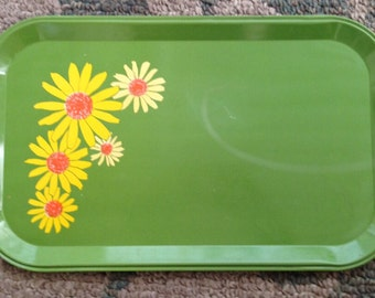Vintage Green With Yellow Daisies Metal Tray