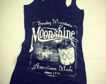 Vintage Moonshine Whiskey Smoky Mountain American Made Triblend Racerback Tank Top