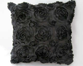 Textured Rose Square or  Rectangular Pillow Cover - Black