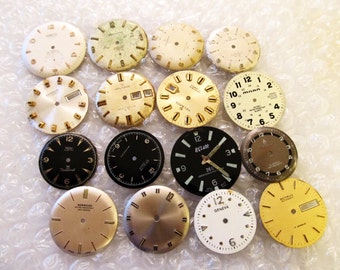 STEAMPUNK Watch Parts of 4 Vintage Watch Face Dials, From Old Watch Parts, For Steam punk Art, Or Jewelry, #X6