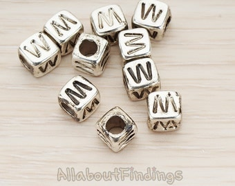 PDT1135-W-AS // Glossy Antique Silver Plated Initial Cube Metal Bead, 4 Pc