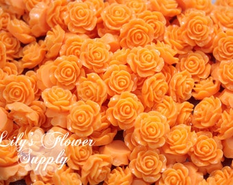 Orange Resin Rose Button - Rose Center Piece - Flatback Button - Resin Rose- Pearl Button - Wholesale - You pick colors - 10 Pieces