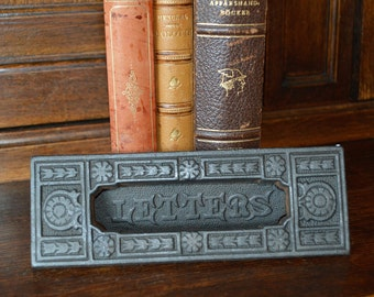 Antique English Cast Iron Letter Box Hardware Vintage Letter Drop Shabby Chic