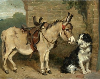 """John Emma, Ready for the Morning Ride, Donkey and Dog 11x14"""" Cotton Canvas Print"""