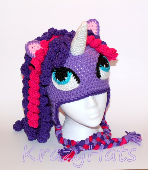 Crochet Unicorn/Pony hat..Made to order. by KrazyHats2 on Etsy