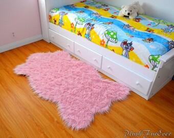 Mongolian Pink Fur Rug 3 X 5 Sheepskin Long Fur Luxurious