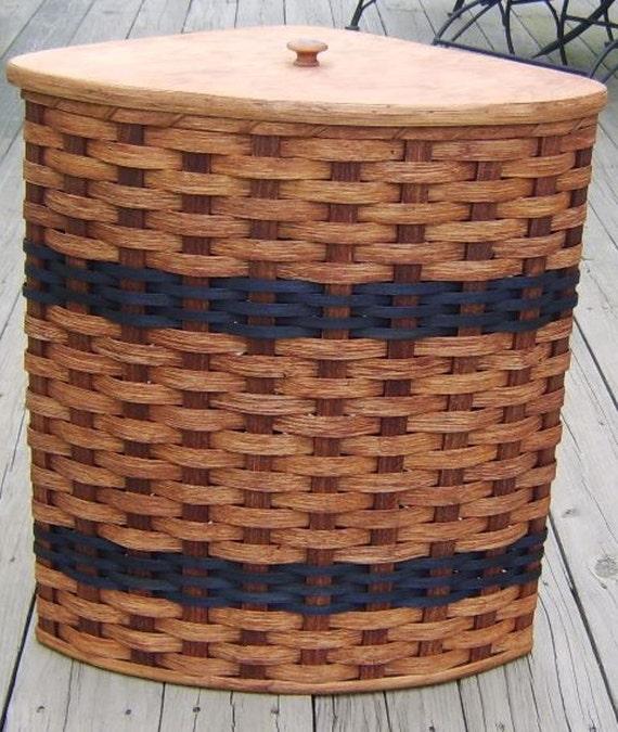 Amish Handmade Large Corner Hamper Basket W Fitted Lid Custom Colors Available See Item Details