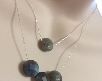 Two is better then One Sterling silver multi chain Labradorite necklace