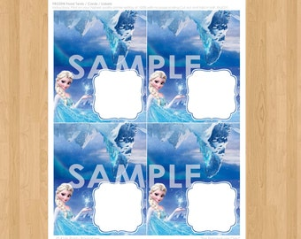 Frozen Food Tent Cards - INSTANT DOWNLOAD Disney Frozen Food Label Cards Tags - Elsa Frozen Party Printable matches Birthday Invitation