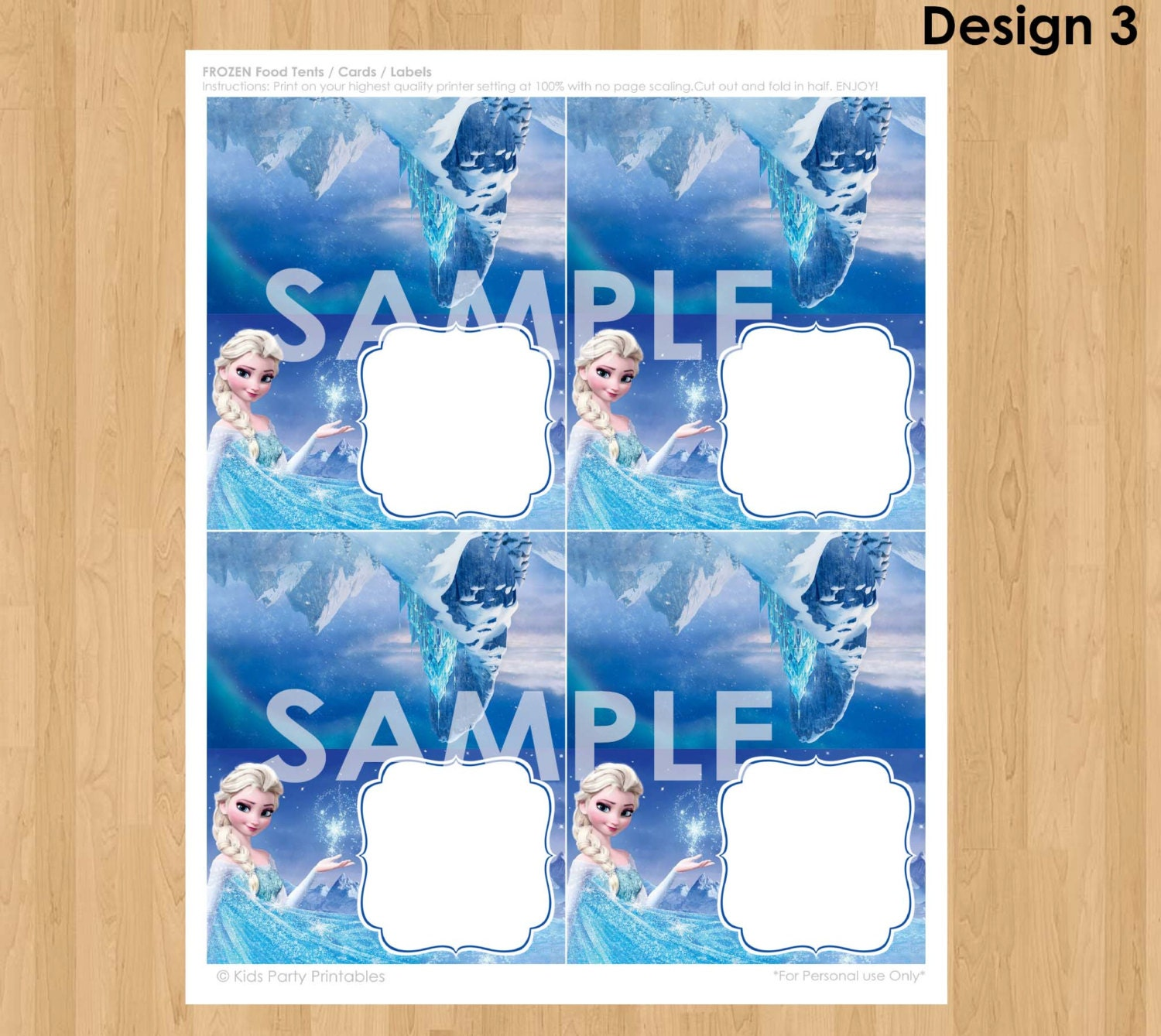 frozen food tent cards instant download disney frozen food